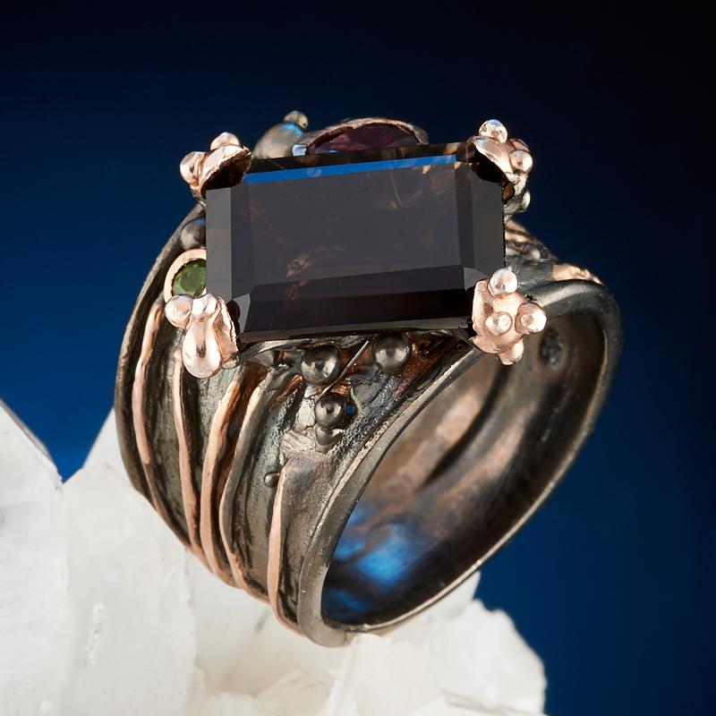 Кольцо раухтопаз огранка (серебро 925 пр., позолота) размер 18