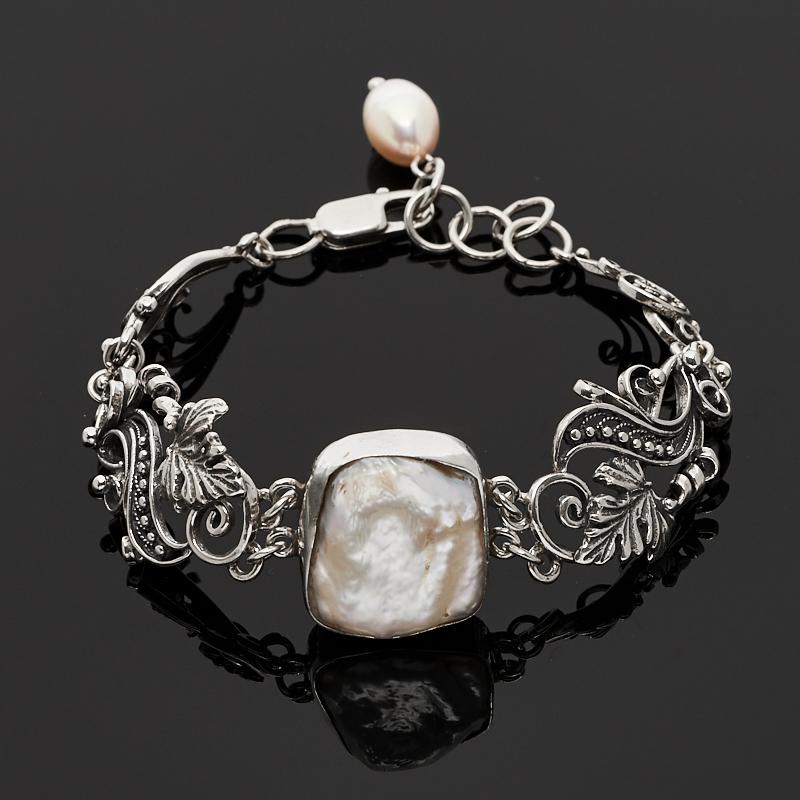 Браслет жемчуг белый 16-18 см (серебро 925 пр.)