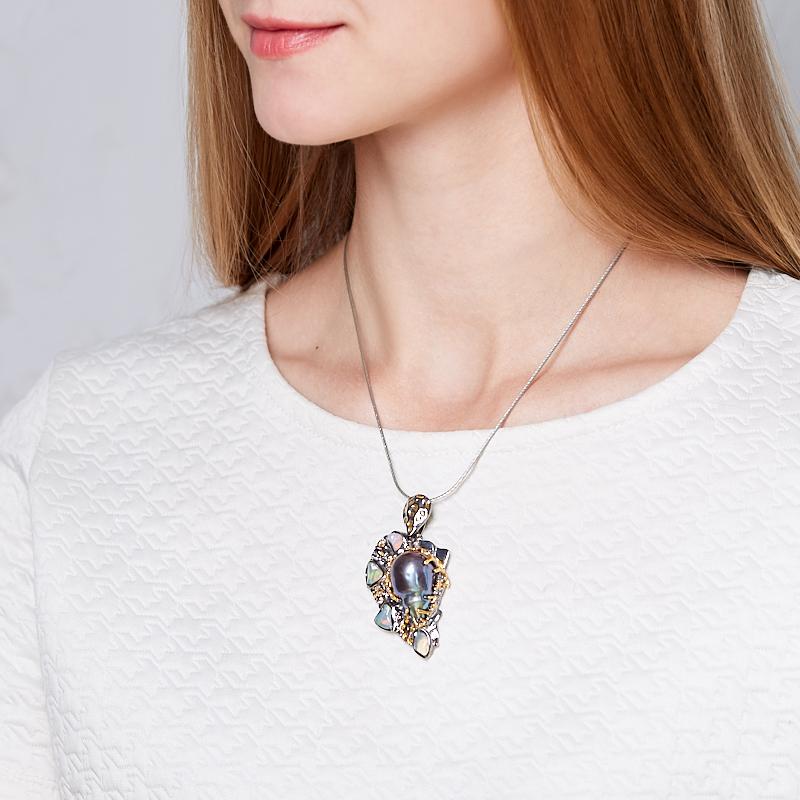 Кулон микс жемчуг, опал (серебро 925 пр. родир. черн. позолота)