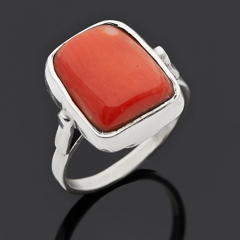 Кольцо коралл оранжевый (серебро 925 пр.) размер 17,5