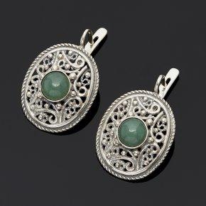 Серьги авантюрин зеленый Индия (серебро 925 пр.)