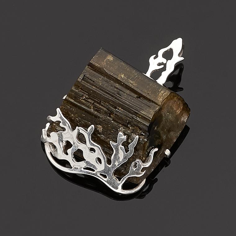 Кулон турмалин зеленый (верделит) (серебро 925 пр.)
