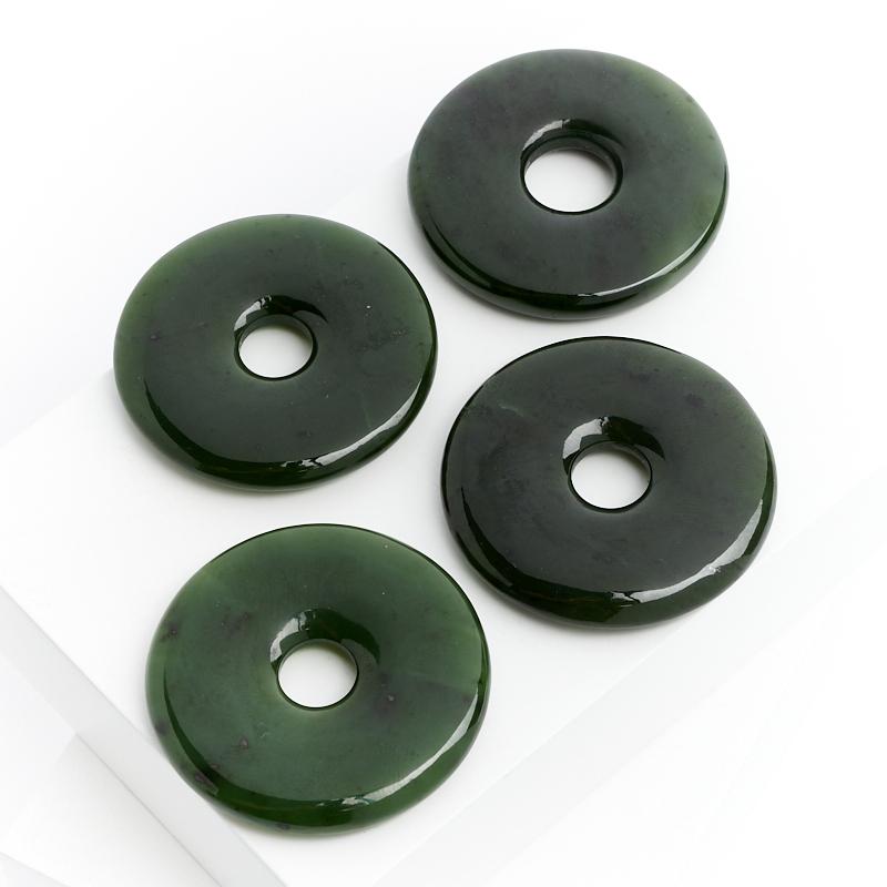 Кулон нефрит зеленый круг 4,5 см браслет классика 8 нефрит револю