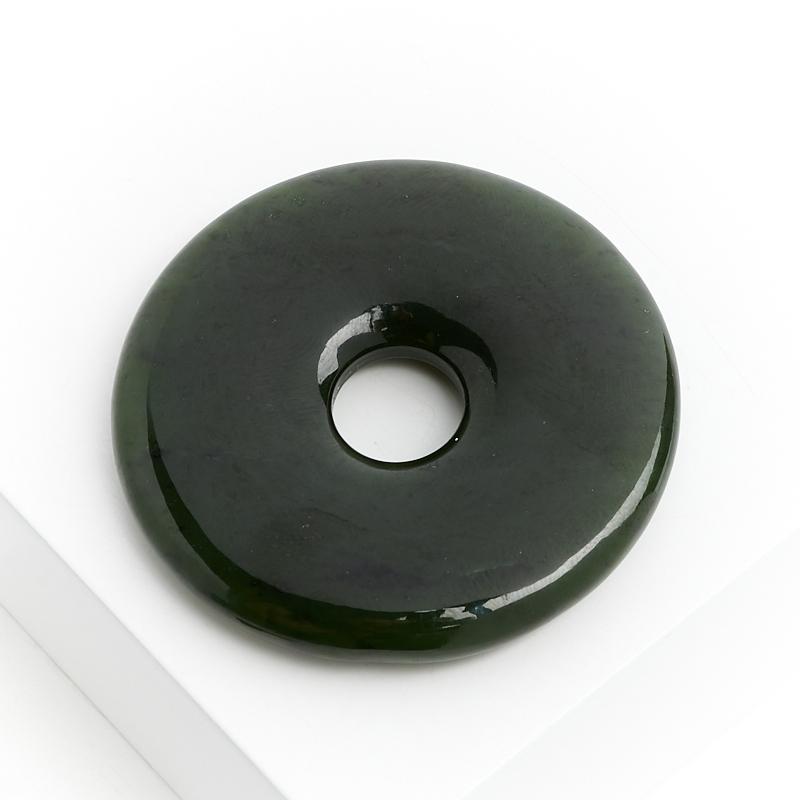 Кулон нефрит зеленый Россия круг 4,5 см