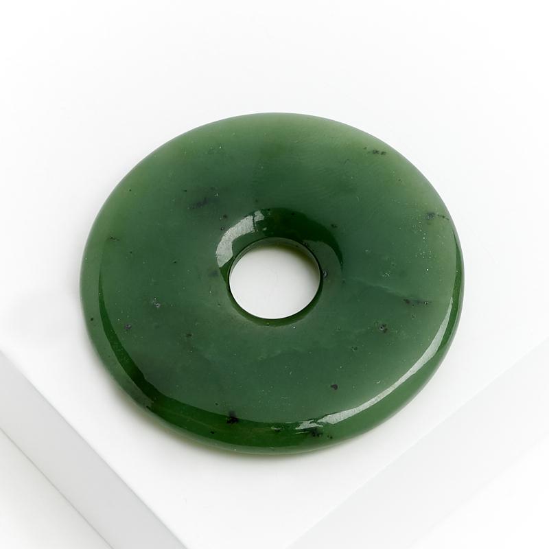 Кулон нефрит зеленый круг 4,5 см