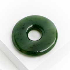 Кулон нефрит зеленый Россия круг 4 см