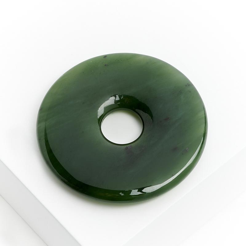 Кулон нефрит зеленый круг 4 см