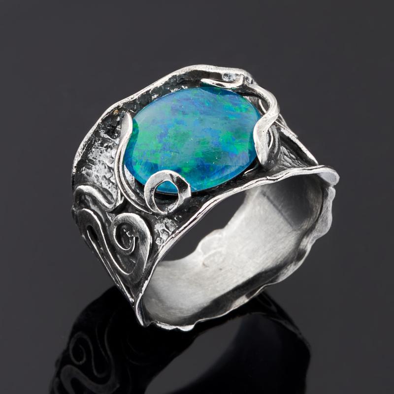 цены Кольцо опал благородный синий (триплет) (серебро 925 пр.) размер 17