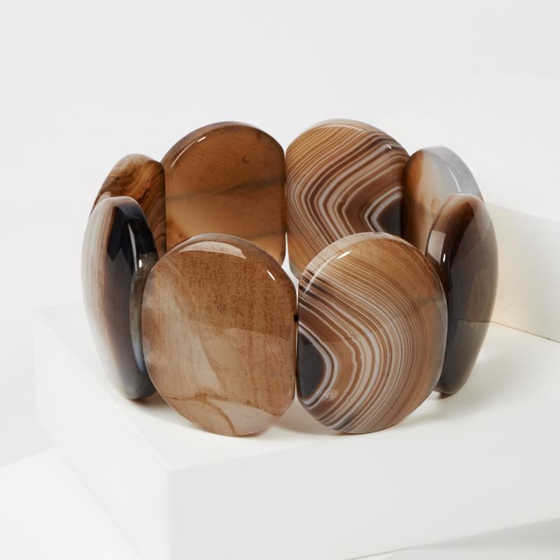 Браслет агат коричневый 19 см