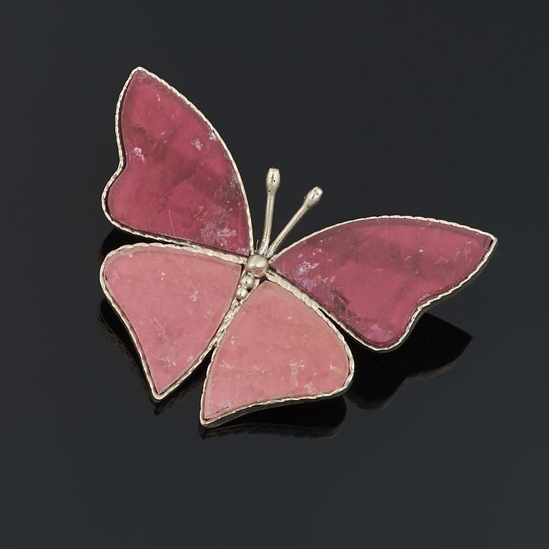 Брошь турмалин розовый (рубеллит) (мельхиор)