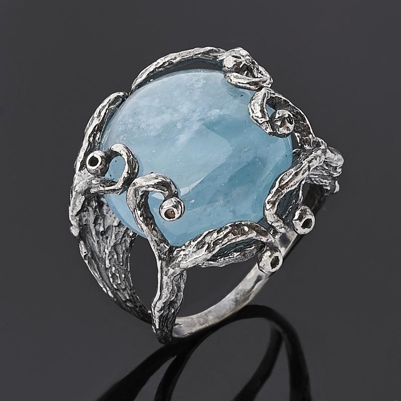 Кольцо аквамарин Бразилия (серебро 925 пр.) размер 17