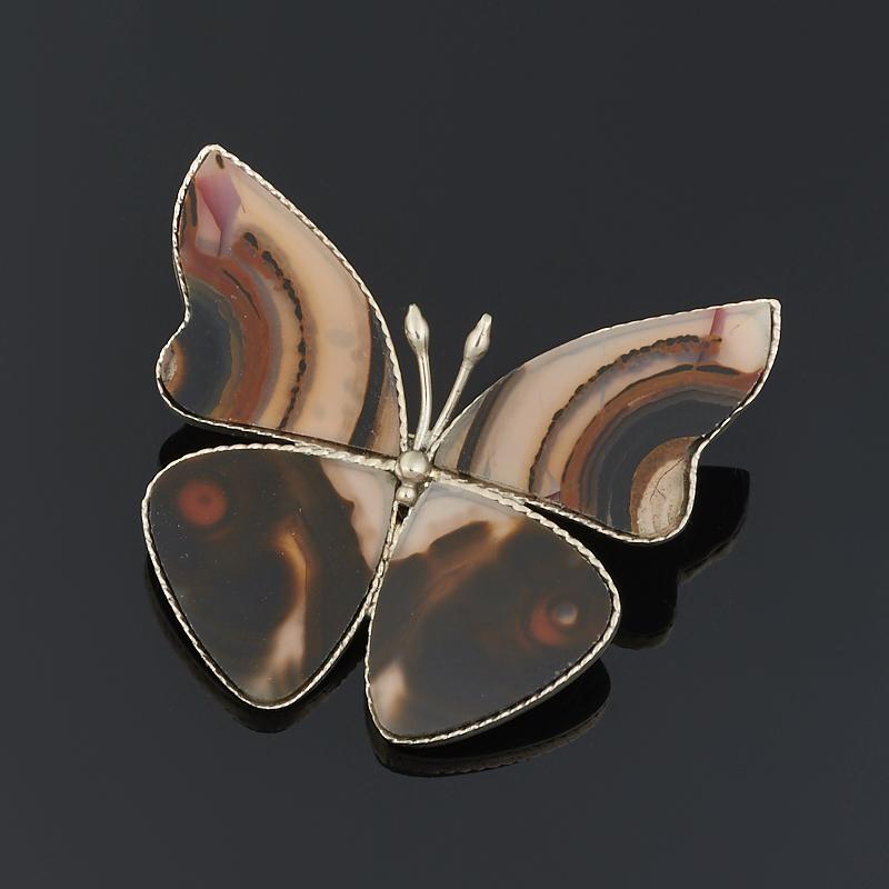 Брошь агат коричневый (мельхиор)