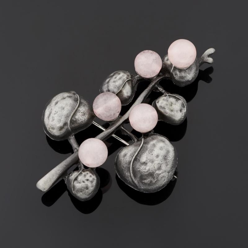 Брошь кулон розовый кварц (биж. сплав)