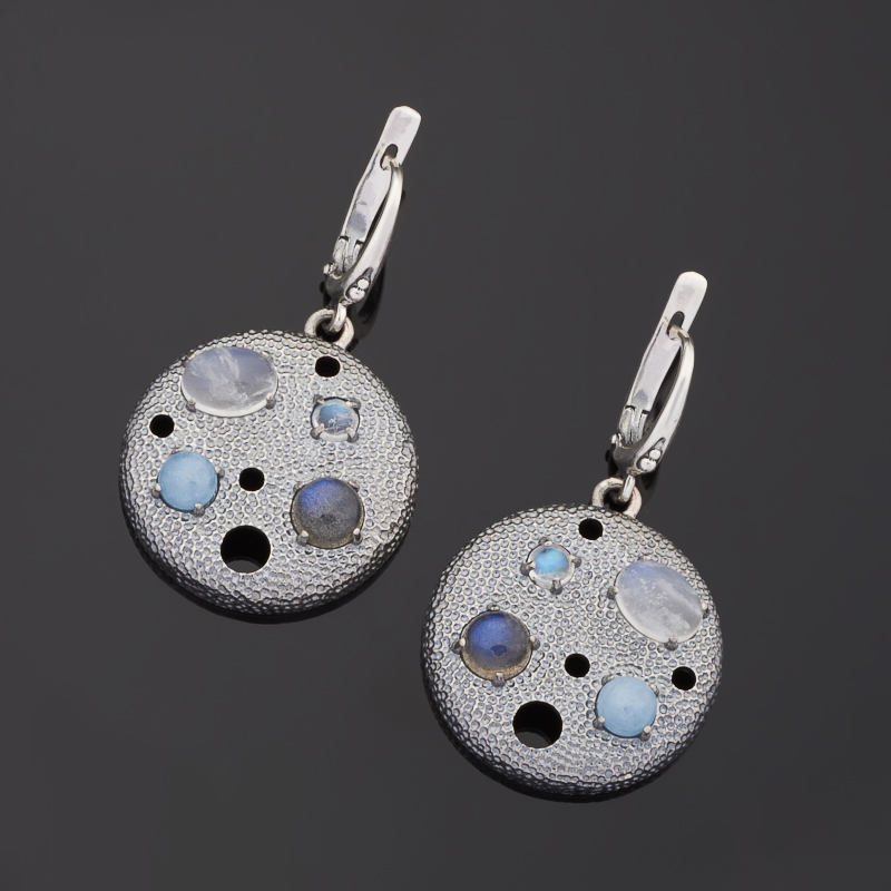 Серьги микс аквамарин, лабрадор, лунный камень (серебро 925 пр. оксидир.)