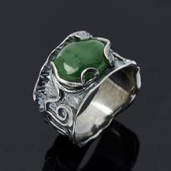 Кольцо нефрит зеленый Россия (серебро 925 пр.) размер 18
