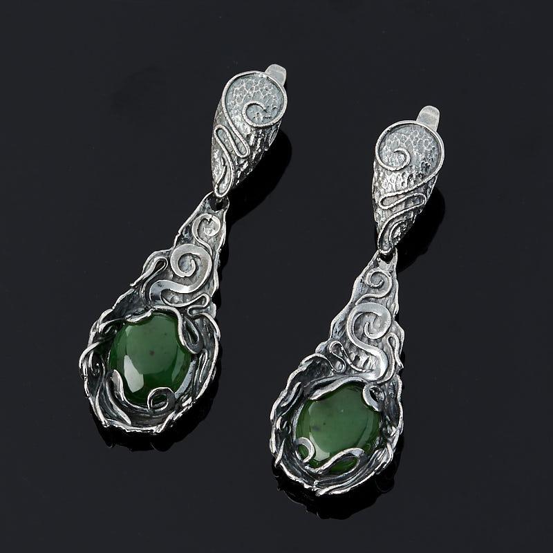 Серьги нефрит зеленый (серебро 925 пр.)