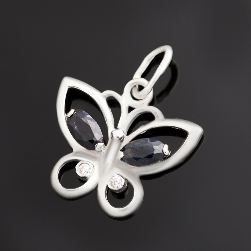 Кулон сапфир черный бабочка огранка (серебро 925 пр.)