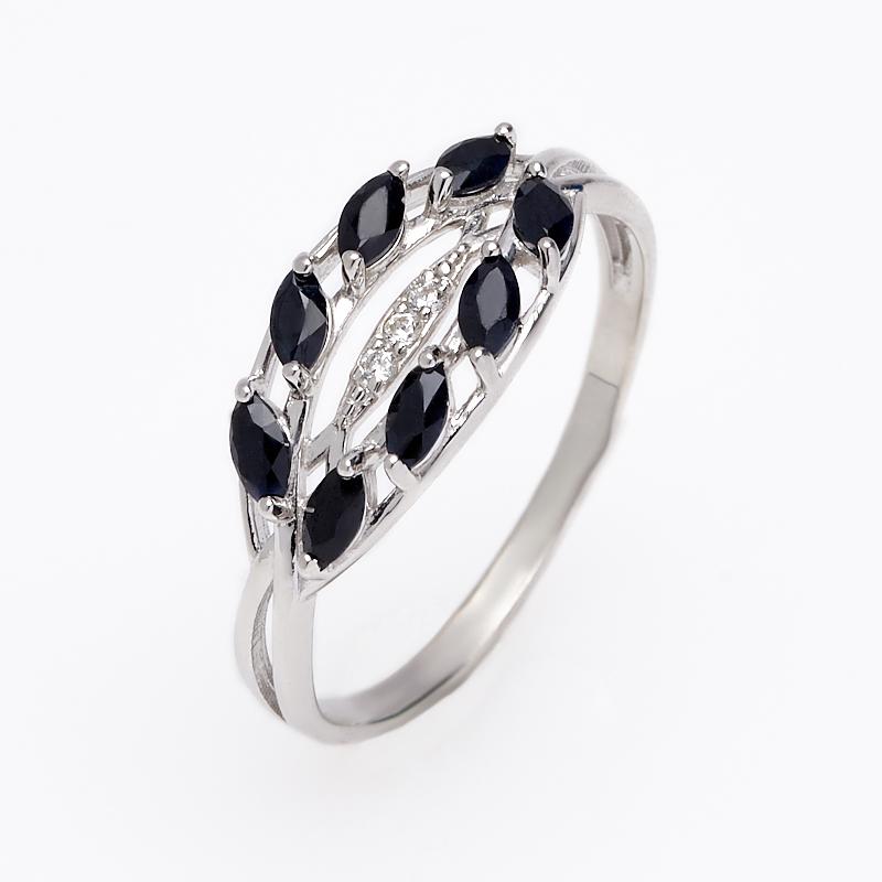 Кольцо сапфир черный Индия огранка (серебро 925 пр.) размер 19