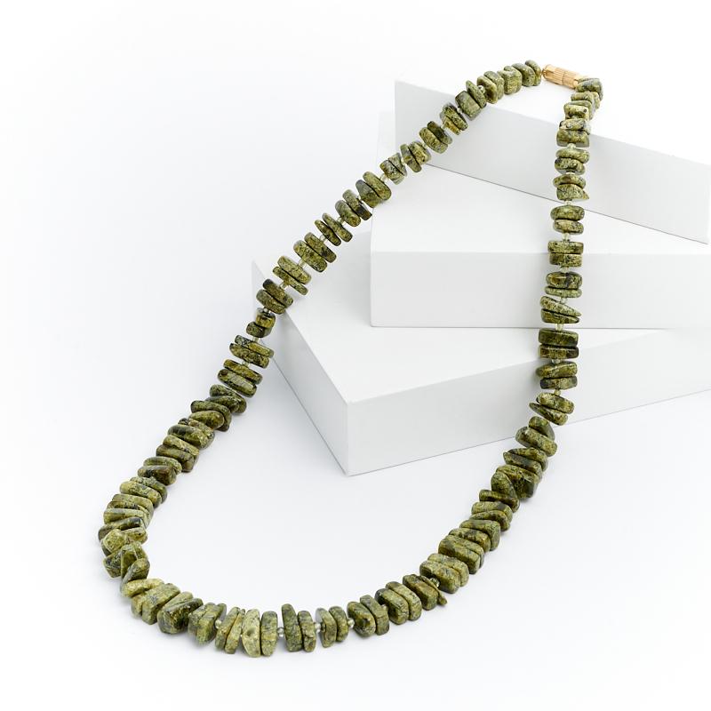 Бусы змеевик 52 см (биж. сплав)