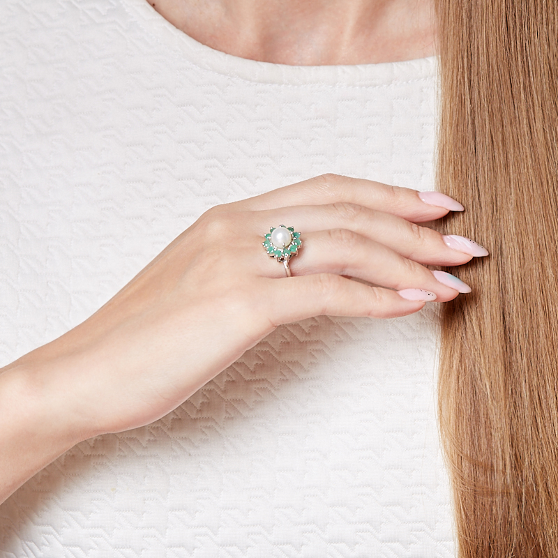 Кольцо микс жемчуг, изумруд (серебро 925 пр. родир. бел.) размер 17,5