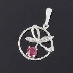 Кулон рубин Мьянма огранка (серебро 925 пр. родир. бел.)