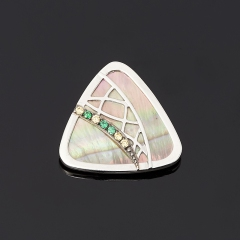 Кулон перламутр серый Индонезия треугольник (серебро 925 пр.)