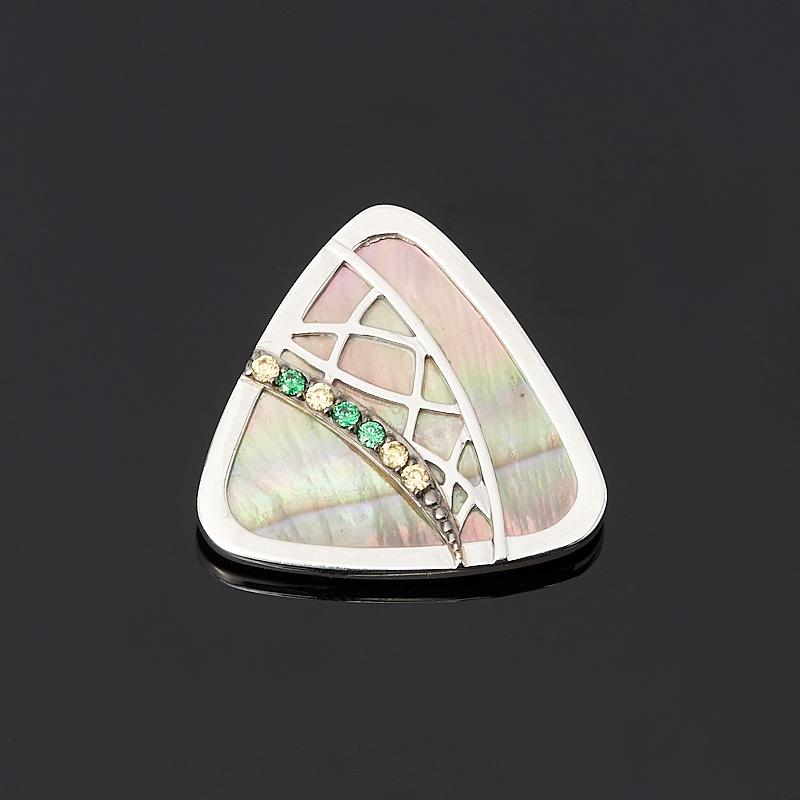 Кулон перламутр серый треугольник (серебро 925 пр.)