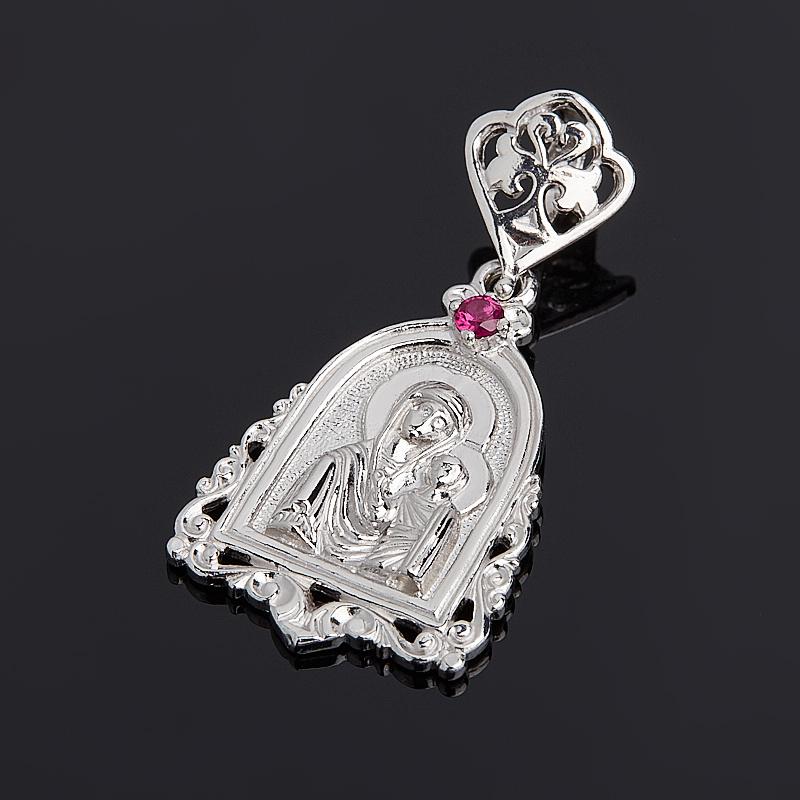 Кулон Казанская Божья Матерь рубин огранка (серебро 925 пр.) образок пресвятая божья матерь 01п050491а цвет позолоченный