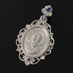 Кулон сапфир Индия Николай Чудотворец огранка (серебро 925 пр.)