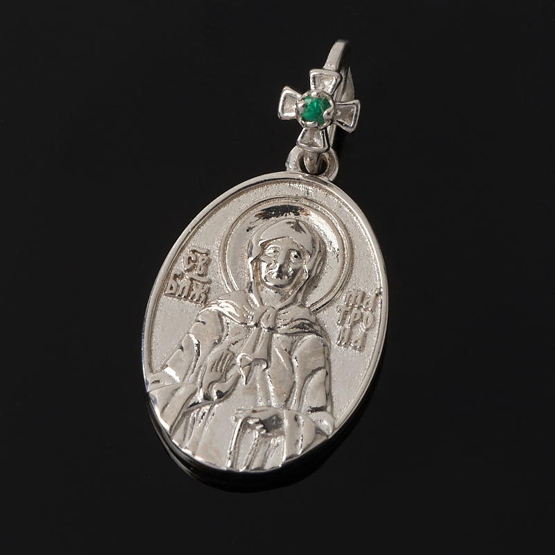 Кулон Блаженная Матрона изумруд овал огранка (серебро 925 пр.)