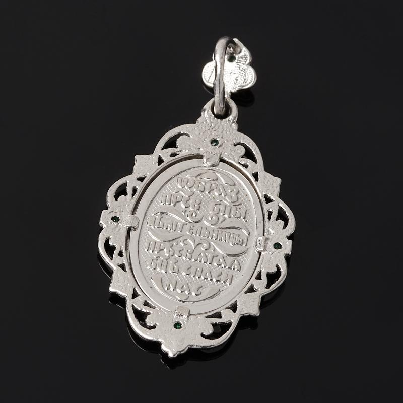 Кулон изумруд Колумбия огранка (серебро 925 пр. родир. бел.)