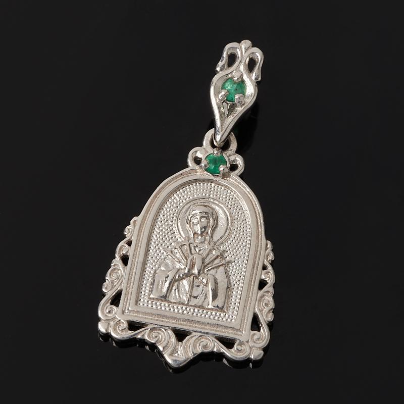 Кулон Семистрельная Божья Матерь изумруд огранка (серебро 925 пр.) кулон семистрельная божья матерь сапфир огранка серебро 925 пр