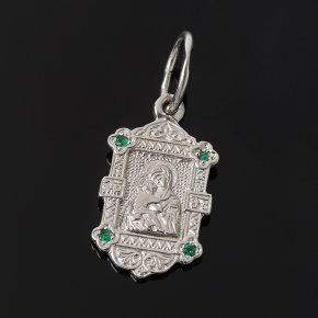 Кулон Владимирская Божья Матерь изумруд Колумбия огранка (серебро 925 пр.)