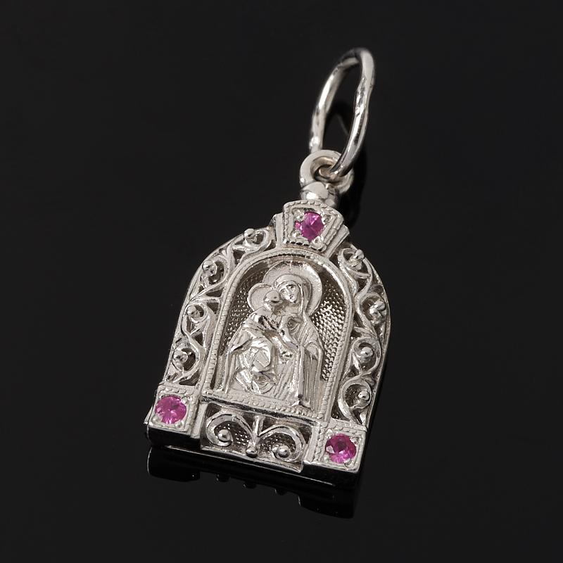Кулон Владимирская Божья Матерь рубин Мьянма огранка (серебро 925 пр.)