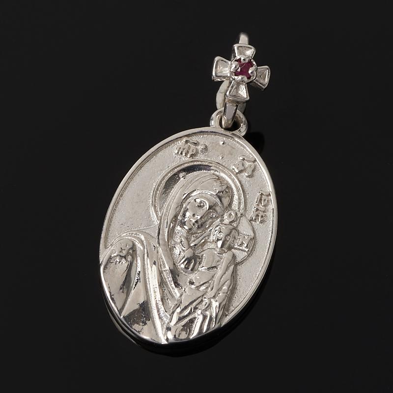 Кулон Казанская Божья Матерь рубин овал огранка (серебро 925 пр.) образок пресвятая божья матерь 01п050491а цвет позолоченный