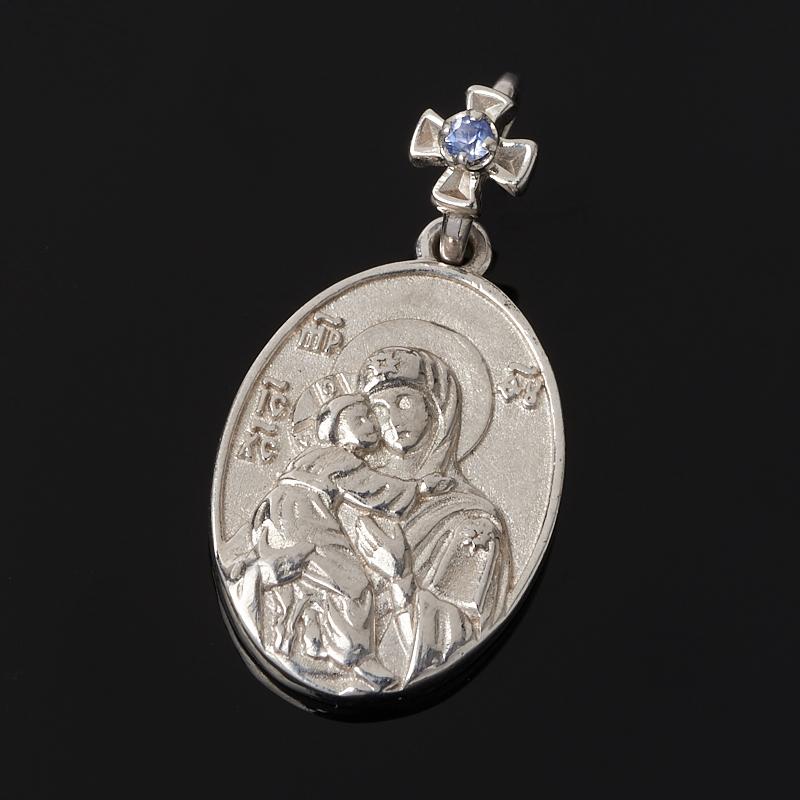 Кулон Владимирская Божья Матерь сапфир овал огранка (серебро 925 пр.) кулон семистрельная божья матерь сапфир огранка серебро 925 пр