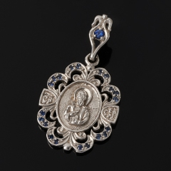 Кулон сапфир Индия Сергий Радонежский огранка (серебро 925 пр.)