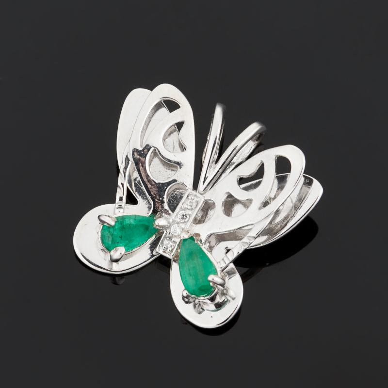 Кулон изумруд бабочка огранка (серебро 925 пр.)