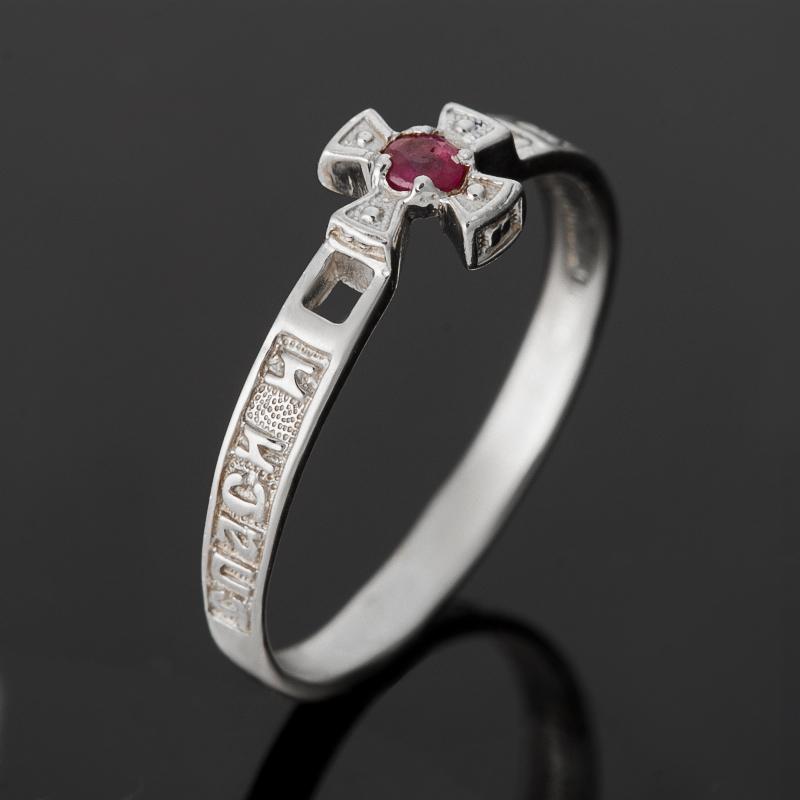 Кольцо Спаси и Сохрани рубин огранка (серебро 925 пр.) размер 17