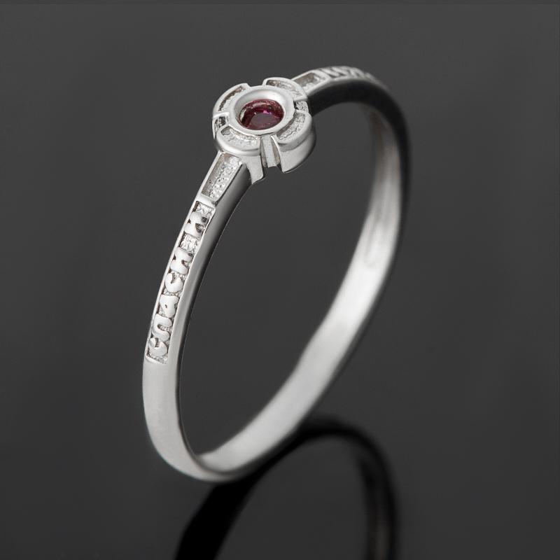 Кольцо Спаси и Сохрани рубин огранка (серебро 925 пр.) размер 15,5