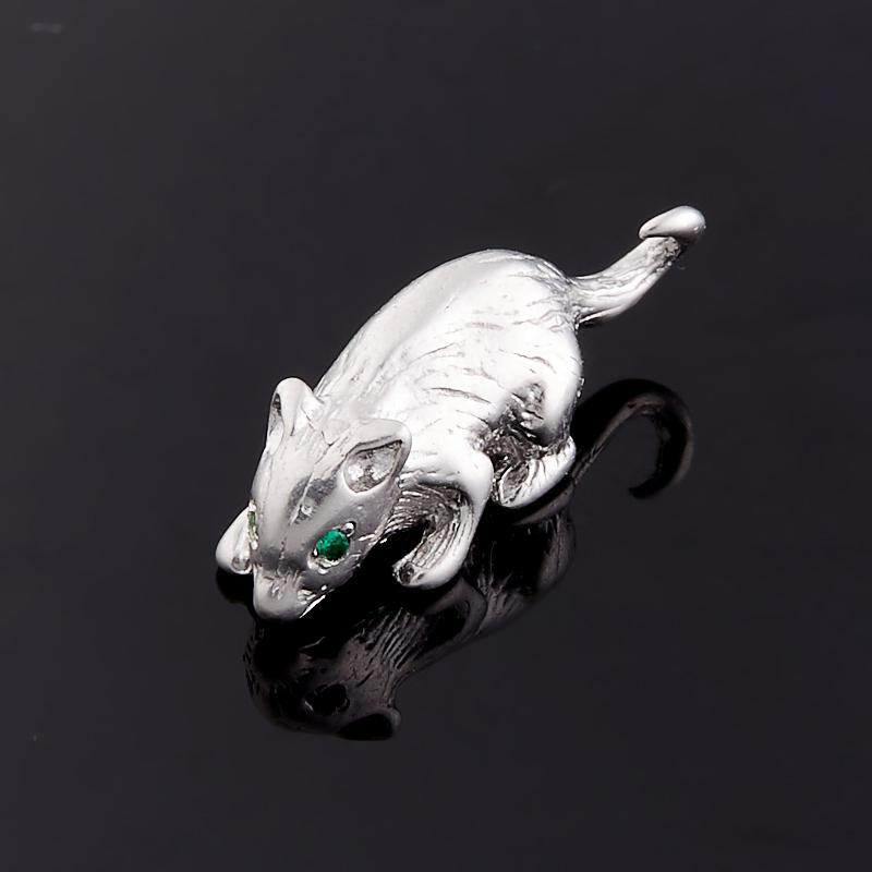 Денежный талисман изумруд Колумбия (серебро 925 пр.) (мышь кошельковая)