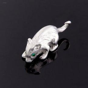 Мышка изумруд Колумбия (серебро 925 пр.) 1,5 см