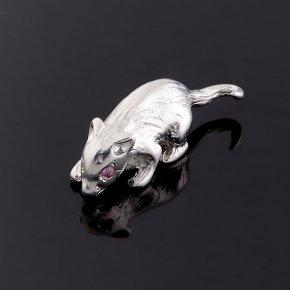Мышка рубин Мьянма (серебро 925 пр.) 1,5 см