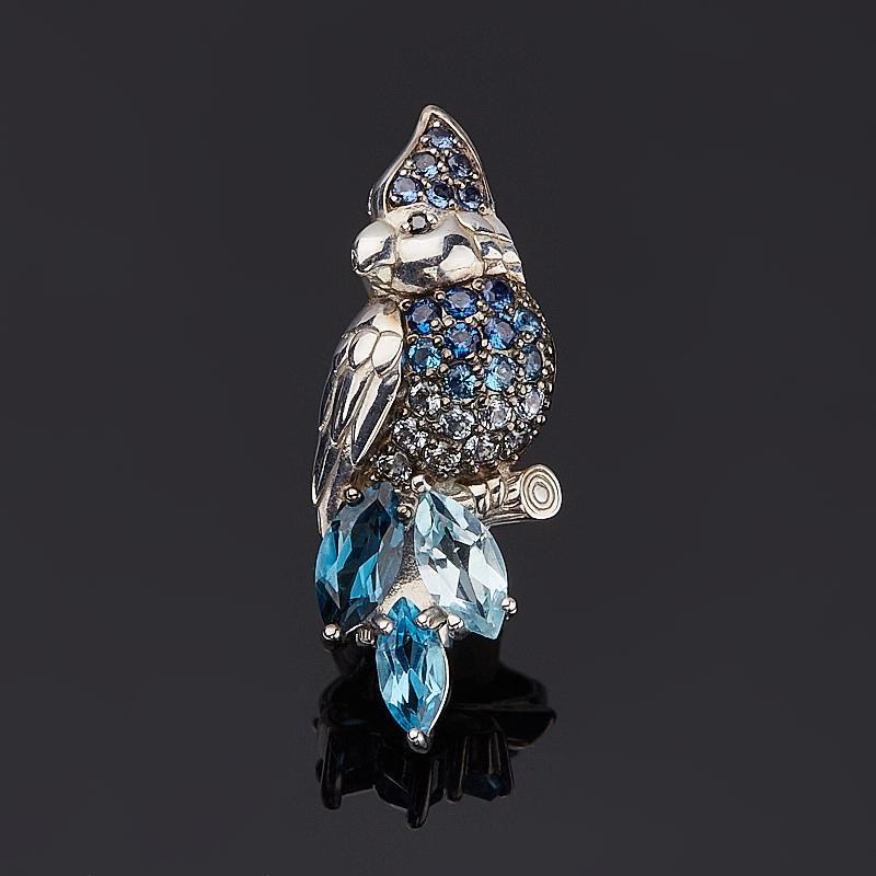 Брошь топаз голубой, swiss, лондон огранка (серебро 925 пр.)