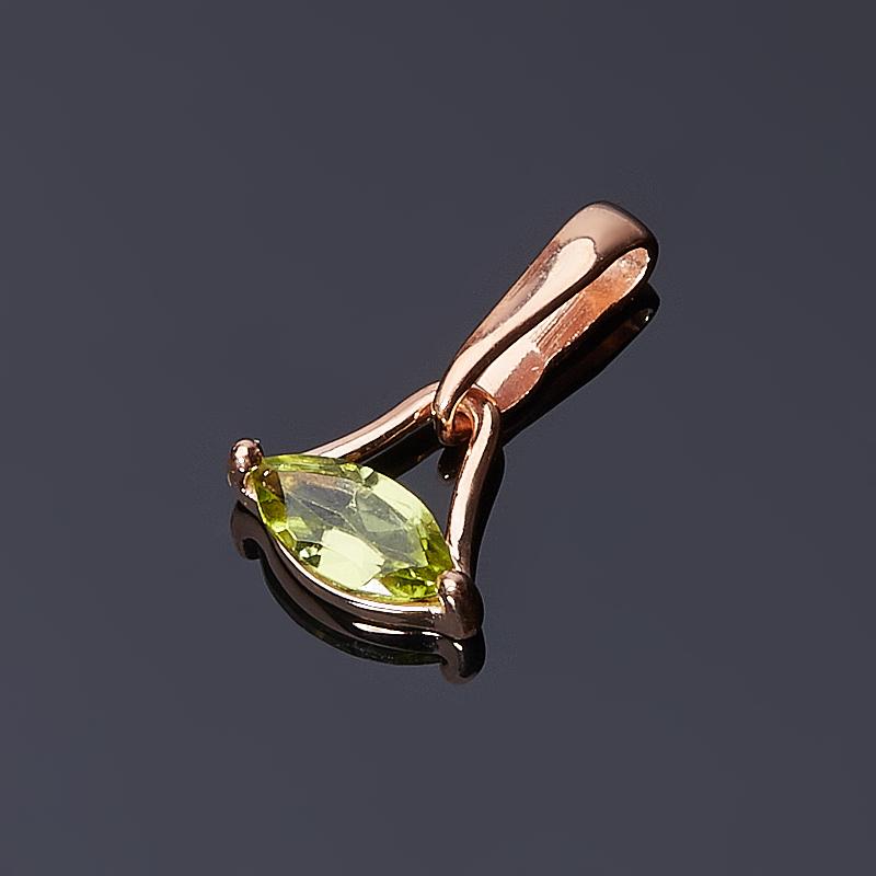 Кулон хризолит огранка (серебро 925 пр., позолота)
