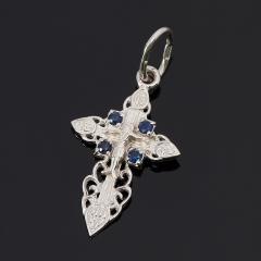 Кулон сапфир Индия крест огранка (серебро 925 пр.)