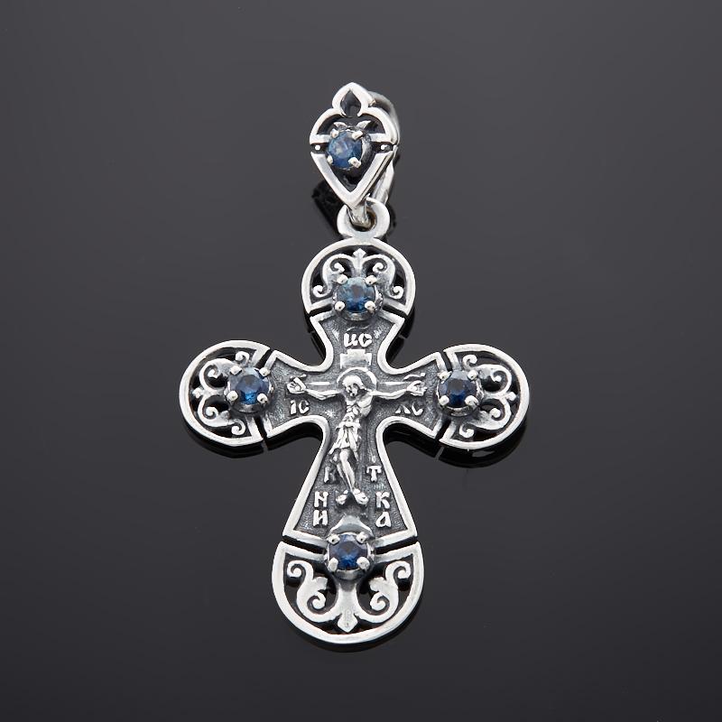 Кулон сапфир черный крест огранка (серебро 925 пр.)