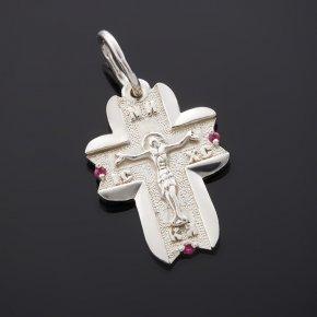 Кулон рубин Мьянма крест огранка (серебро 925 пр.)