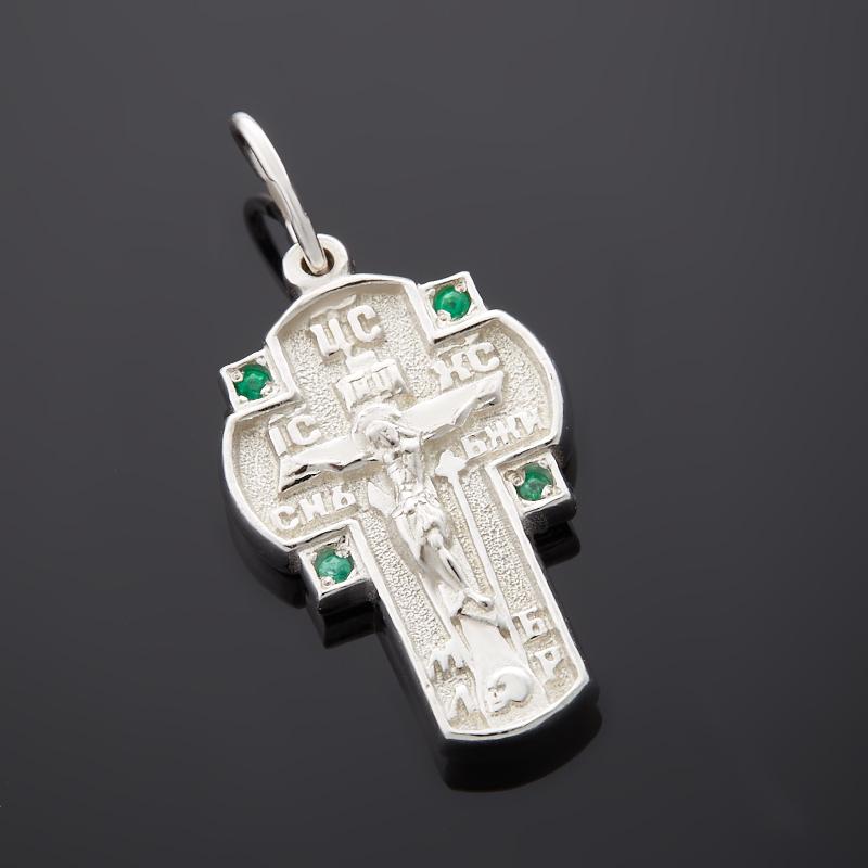 Кулон изумруд крест огранка (серебро 925 пр.) кулон mitya veselkov штурвал и крест