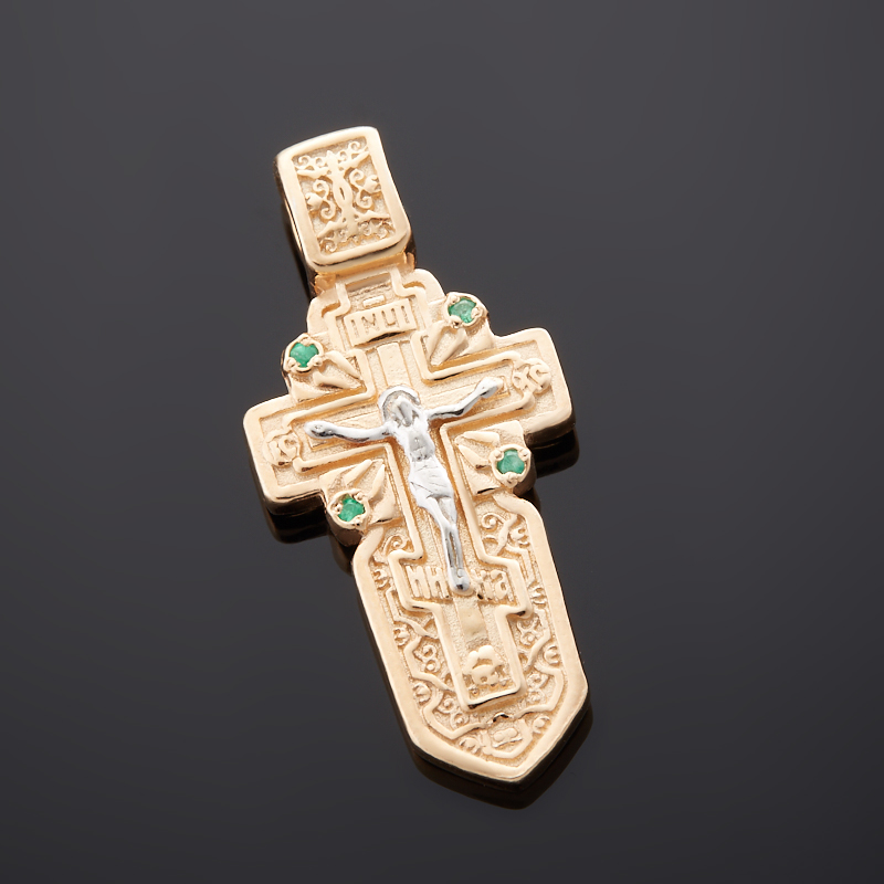 Кулон изумруд крест огранка (серебро 925 пр., позолота)